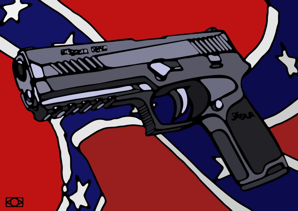gun and flag